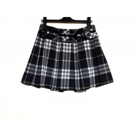 【中古】 バーバリーブルーレーベル スカート サイズ38 M レディース 美品 黒 ライトグレー マルチ