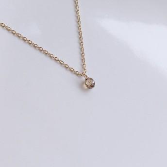 10YG ブラウンダイヤの一粒ネックレス