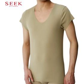 GUNZE グンゼ SEEK(シーク) 【強撚カットオフ】UネックTシャツ(U首・袖短め・脇パッド対応)(メンズ) グレー LL