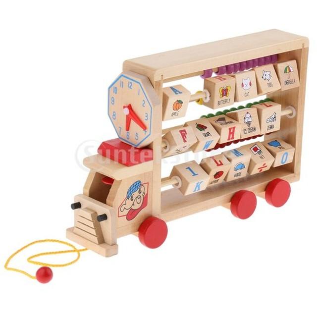 F Fityle 木製 赤ちゃん 子ども用 そろばん玩具 数字 アルファベット 知育 教育玩具
