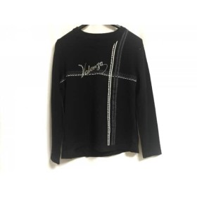 【中古】 バレンザ VALENZA 長袖セーター サイズ42 L レディース 黒 白 ダークグレー ラインストーン