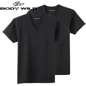 GUNZE グンゼ BODY WILD(ボディワイルド) VネックTシャツ 2枚組(メンズ)【SALE】 ブラック M