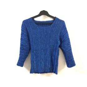 【中古】 イタリヤ 七分袖Tシャツ サイズF レディース 美品 ブルー プリーツ加工/ラインストーン