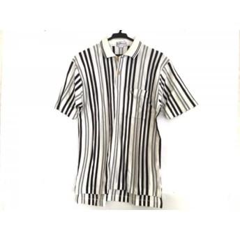 【中古】 バーバリーズ 半袖ポロシャツ サイズM メンズ 美品 白 ダークネイビー グレー ストライプ