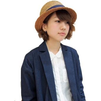 帽子全般 - FADEN polcadot バイカラー ラフィアボーラーハット 帽子 天然素材 春夏 紫外線対策