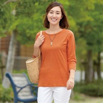 【レディース】 ベーシックな7分袖Tシャツ ■カラー:シトラスオレンジ ■サイズ:M,L,LL