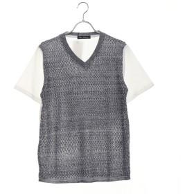 スタイルブロック STYLEBLOCK サマーニット切り替えVネックTシャツ (杢ネイビー)