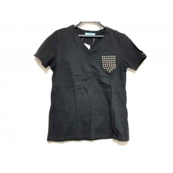 【中古】 ギルドプライム GUILD PRIME 半袖Tシャツ サイズ36 S レディース 黒 ゴールド 刺繍/スター