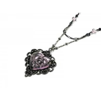 【中古】 アナスイ ネックレス 美品 金属素材 プラスチック ラインストーン シルバー パープル ピンク