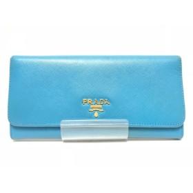 【中古】 プラダ PRADA 長財布 - 1M1132 ブルー レザー