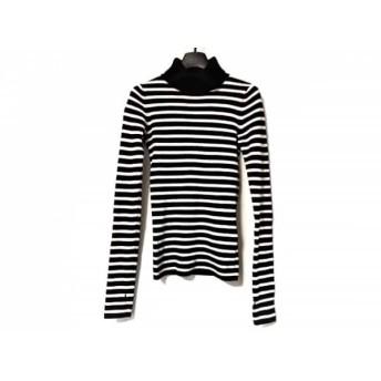 【中古】 アニエスベー agnes b 長袖セーター サイズTU レディース 黒 白 To b/タートルネック/ボーダー