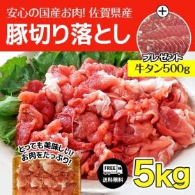 佐賀県産豚切り落とし5kgに牛タン500gプレゼント 佐賀県産豚切り落とし500g×10で発送です。アメリカ産牛タン(成型肉)を500gプレゼントいたします。