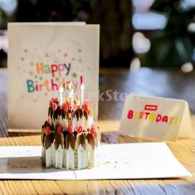 3Dポップアップカードお誕生日おめでとうケーキ誕生日パーティー紙グリーティングカード