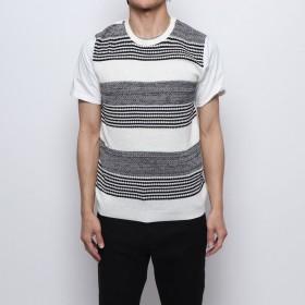スタイルブロック STYLEBLOCK サマーニット切り替えクルーネックTシャツ (ブラック)