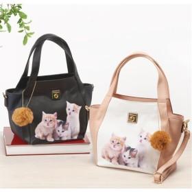 ネコ柄プリント2wayバッグ ■カラー:ピンク