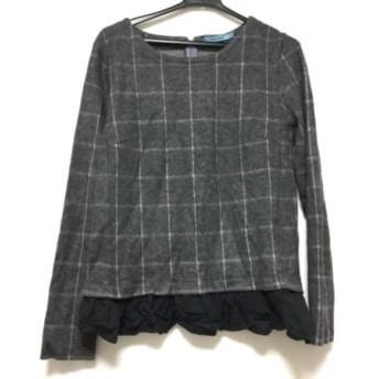 【中古】 ギルドプライム GUILD PRIME 長袖Tシャツ サイズ36 S レディース グレー 黒 チェック柄/フリル