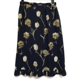【中古】 レリアン Leilian スカート サイズ11 M レディース 美品 黒 カーキ 花柄