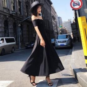 黒ワンピースドレス 大きいサイズ シンプル ベーシック きれいめ エレガント パーティ お呼ばれ 披露宴 二次会 ハイウエスト フレア シッ