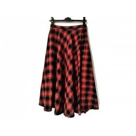 【中古】 アニエスベー ロングスカート サイズ36 S レディース レッド ネイビー マルチ To b/チェック柄