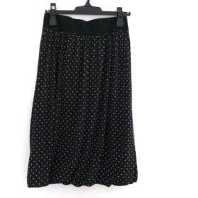 【中古】 ヨシエイナバ YOSHIE INABA スカート サイズ40 M レディース 黒 ベージュ ドット柄