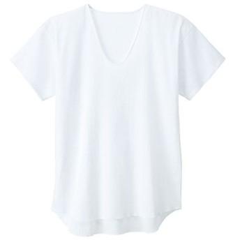 【メンズ】 男の昔ながらの夏定番素材クレープ綿100%素材半袖U首・2枚組 - セシール ■カラー:ホワイト ■サイズ:LL,S,3L,5L,L,M