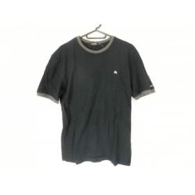【中古】 バーバリーブラックレーベル 半袖Tシャツ サイズ3 L メンズ 黒 ダークグレー マルチ