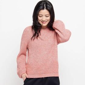 スマートピンク smart pink 【洗える】ラメ入り パフ袖ニット (ライトオレンジ)