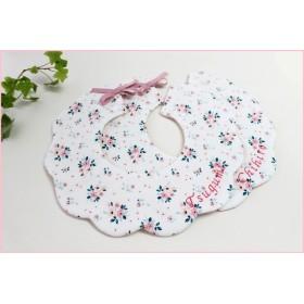 オプションで刺繍お名前入れられます 花リース型スタイ花柄リボン2
