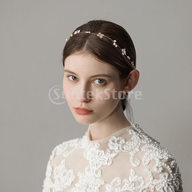 2ピースレトロブライダルヘッドバンドフラワーパールかぶと結婚式のヘアアクセサリー