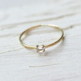 18k gold ring ~小さな天然石~ ハーキマーダイヤモンド