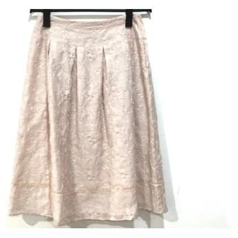 【中古】 シビラ Sybilla スカート サイズL レディース 美品 ピンク シースルー/刺繍