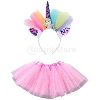 2セットミニ子供チュチュスカートヘアフーププリンセスパーティーの装飾女の子誕生日