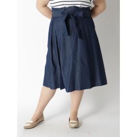 【大きいサイズレディース】【3-4l】デニム調素材にミモレ丈スカートMaglieparef-de スカート フレアスカート