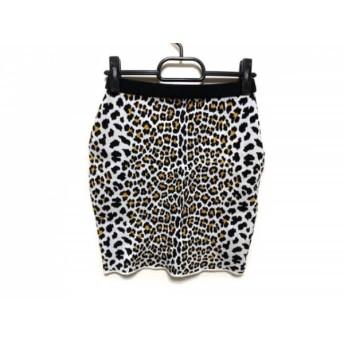 【中古】 ルシェルブルー LE CIEL BLEU スカート サイズF レディース 白 黒 オレンジ 豹柄