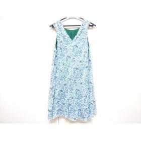 【中古】 ドゥロワー Drawer ワンピース サイズ38 M レディース 白 グリーン マルチ 花柄