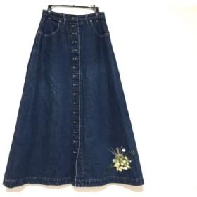 【中古】 カネコイサオ KANEKO ISAO 巻きスカート レディース 美品 ネイビー デニム/刺繍