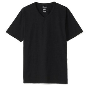 HANES 【WEB限定価格】VネックTシャツ メンズ ブラック