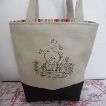 刺繍の帆布のミニトートバッグ かわいいくまさんチャコールグレー