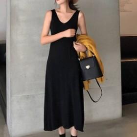 韓国 ファッション レディース ワンピース 夏 カジュアル ノースリーブ ミモレ丈 シンプル 着回しやすい オルチャン ファッション ワンピ