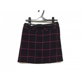 【中古】 ピンキー&ダイアン Pinky & Dianne スカート サイズ36 S レディース 美品 黒 ピンク ツイード