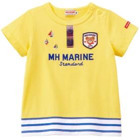 ミキハウス プッチー 裾ボーダー半袖Tシャツ 黄