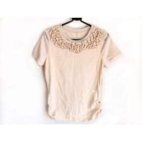 【中古】 ヒロコビス HIROKO BIS 半袖Tシャツ サイズ6 M レディース ベージュ ビーズ/シースルー