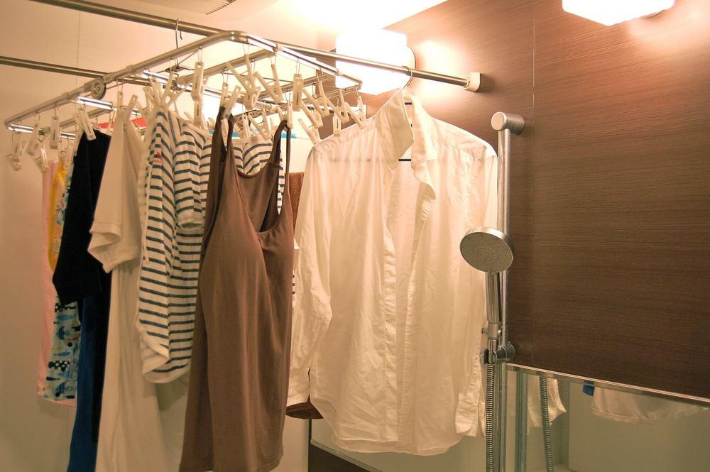 浴室に干した洗濯物