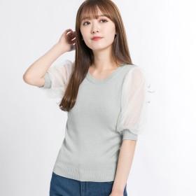 Tシャツ - WEGO【WOMEN】 チュールスリーブ5分袖セーター BR19SP03-L042