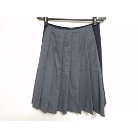 【中古】 プラダ PRADA スカート サイズ38 S レディース グレー 黒 プリーツ