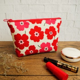 ジッパー化粧品袋:::赤い花