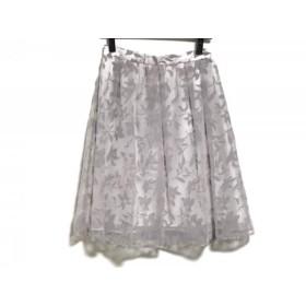 【中古】 マイストラーダ Mystrada スカート サイズ38 M レディース 美品 白 ライトグレー 花柄