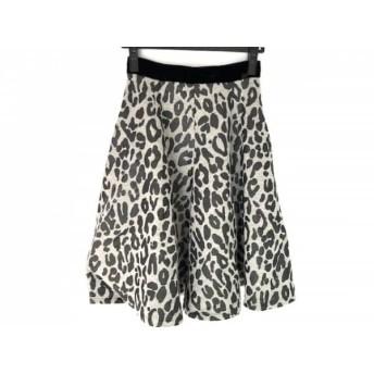 【中古】 ルシェルブルー スカート サイズ1 S レディース 美品 グレー 黒 ベロア/豹柄/ジップアップ