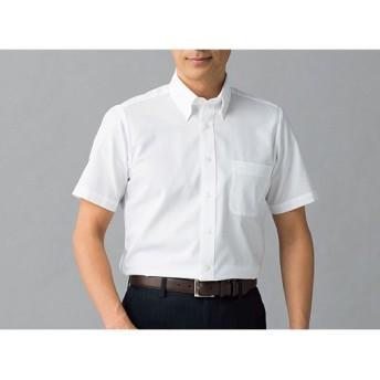 【メンズ】 綿100%形態安定Yシャツ(半袖)(お手入れ簡単ワイシャツ) ■カラー:ホワイトB(ボタンダウン衿) ■サイズ:3L,5L,4L