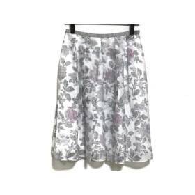 【中古】 ジャスグリッティー JUSGLITTY スカート サイズ2 M レディース 美品 白 グレー ピンク 花柄